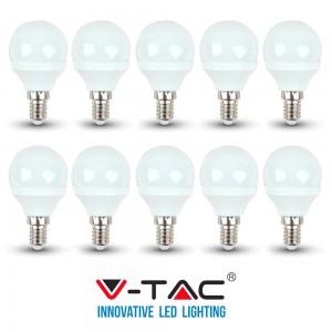10 LAMPADINE LED E14 V-TAC 4W 30W MINI GLOBO P45 VT-1819 CALDA FREDDA NATURALE