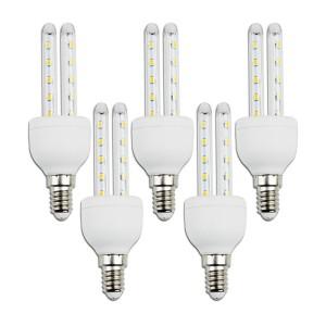 LAMPADINA LED TUBO T3 2U 6W ATTACCO E14 LUCE BIANCO FREDDO 6400K NO FLUORESCENTE 5 PEZZI