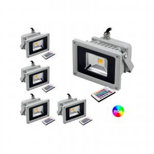 FARO RGB LED FARETTO RGB COLORATO ESTERNO FARETTI RGB COLORATI IP65 10 WATT 5PZ