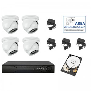 KIT VIDEOSORVEGLIANZA AHD IP CLOUD DVR 4 CANALI 4 MINI DOME HD INFRAROSSI 3 MPX 3.6MM HARD DISK 2TB