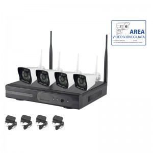 KIT VIDEOSORVEGLIANZA WIRELESS IP 2 MPX 4 TELECAMERE
