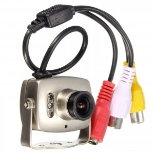 MINI MICRO TELECAMERA CAMERA A COLORI 6 LED IR RCA AUDIO VIDEO MICROFONO STAFFA