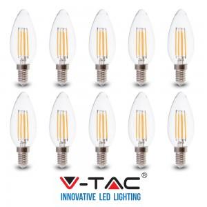 10 LAMPADINE LED E14 FILAMENTO CANDELA 6W V-TAC VT-2127 CALDO FREDDO NATURALE