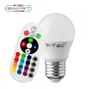Lampadina E27 RGB+W dimmerabile con telecomando 16 colori 3,5W Mini Globo V-TAC VT-2224