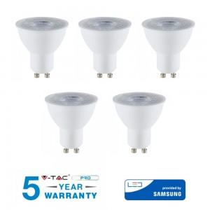 5 LAMPADINA LED GU 10 8W WATT V-TAC SAMSUNG FARETTO 38° GRADI VT-291