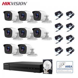 HIKVISION KIT VIDEOSORVEGLIANZA 2 MPX 8 CANALI CON HARD DISK 3 TB