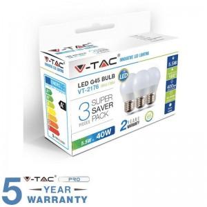 V-TAC VT-2176 CONFEZIONE 3 LAMPADINE LED E27 5,5W MINIGLOBO G45