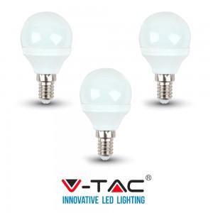 3 LAMPADINE LED E14 V-TAC 4W 30W MINI GLOBO P45 VT-1819 CALDA FREDDA NATURALE