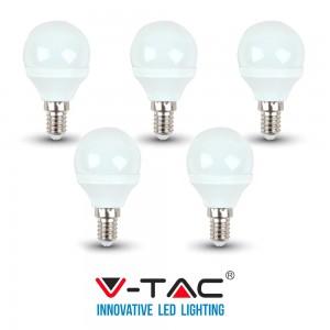5 LAMPADINE LED E14 V-TAC 4W 30W MINI GLOBO P45 VT-1819 CALDA FREDDA NATURALE