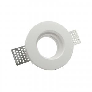 Porta Faretto in Gesso Ceramico Tondo Slim da Incasso per Controsoffature a filo