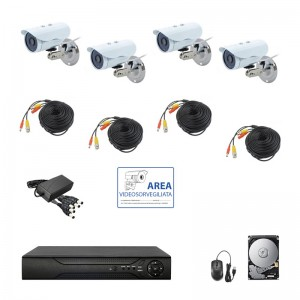 KIT VIDEOSORVEGLIANZA AHD IP CLOUD DVR 4 CANALI 4 TELECAMERE HD IR 2 MPX HD 500GB