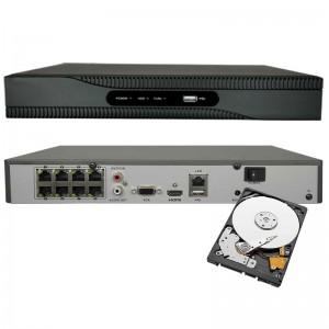 NVR POE INTEGRATO 8 CH 1080P INGRESSO HDMI ONVIF 8 CANALI H265 8 MPX HDD 1TB
