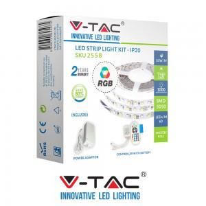 V-TAC KIT STRISCIA LED MULTICOLORE RGB 300 LED CONTROLLER ALIMENTATORE SKU 2558