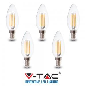 5 LAMPADINE LED E14 FILAMENTO CANDELA 6W V-TAC VT-2127 CALDO FREDDO NATURALE
