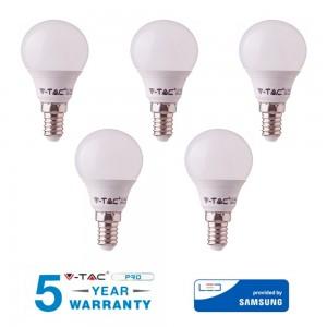 5 LAMPADINE LED E14 V-TAC SAMSUNG 7W 45W MINI GLOBO P45 VT-270 CALDA FREDDA NATURALE
