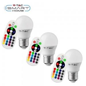 3 Lampadina E27 RGB+W dimmerabile con telecomando 16 colori 3,5W Mini Globo V-TAC VT-2224