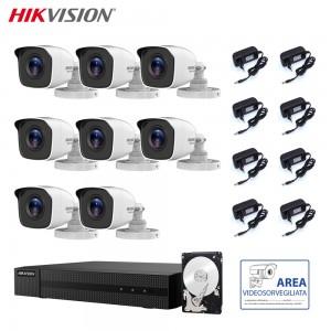 HIKVISION KIT VIDEOSORVEGLIANZA 2 MPX 8 CANALI CON HARD DISK 1 TB